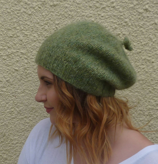 SLOUCH BEANIE . Baby alpaca blend . ' Moss' ...ready to ship.