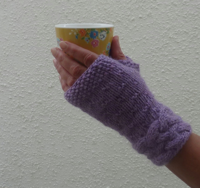 BABY ALPACA blend fingerless mitts . Knitted .Purple. Ladies. Medium.