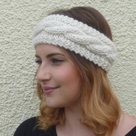 ALPACA blend earwarmers. Headband ' Country Cream'. Super soft...ready to ship..