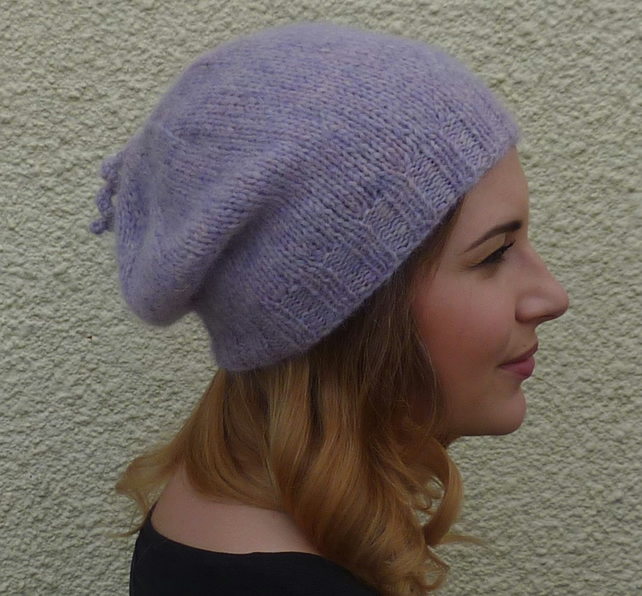 SLOUCH BEANIE . Baby alpaca blend . ' Purple Haze' ...ready to ship.