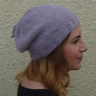 SLOUCH BEANIE . Luxurious baby alpaca blend . ' Purple Haze'