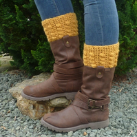 BOOT CUFFS , boot toppers .Alpaca and Wool blend. 'Golden Glow' .
