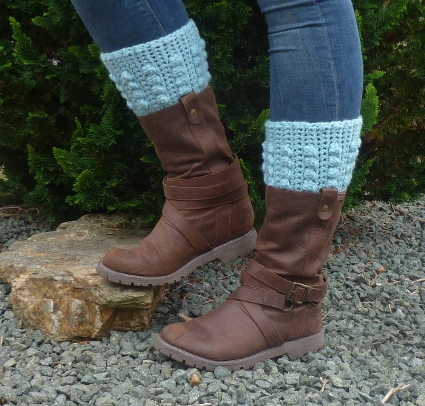 BOOT CUFFS , boot toppers .Alpaca and Wool blend. ' Winter Skies'