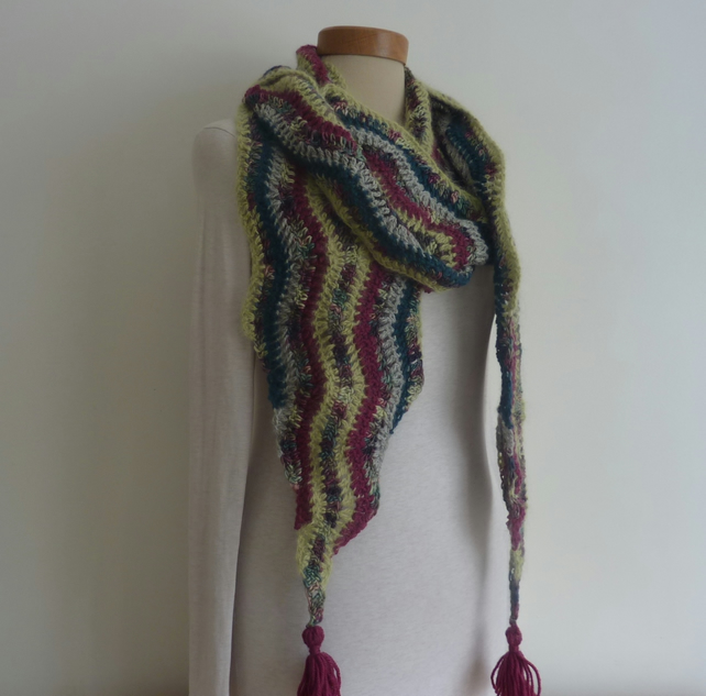 SCARF .Alpaca , wool , angora, silk  blend  . Unique .Crochet .Ready to ship..