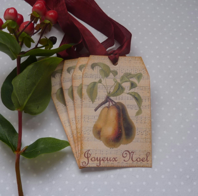 CHRISTMAS GIFT TAGS , Vintage -style  ( set of 4) ' Joyeux Noel '. Botanical.