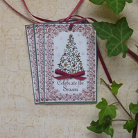 CHRISTMAS GIFT TAGS  ( set of 3) ' Celebrate.....'..ready to ship...