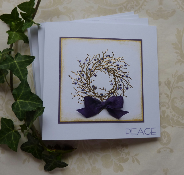 CHRISTMAS CARDS 'Peace' ( purple and gold ), pack of 4 ..ready to ship...