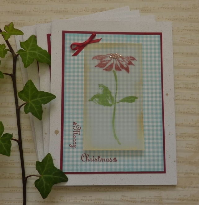CHRISTMAS CARDS ' Poinsettia ' ( pack of 4 ) vellum. Merry Christmas.
