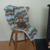 COT , PRAM blanket. Ripples. Crocheted .'Sea Glass'...ready to ship .....