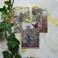 GIFT TAGS  ( Set of 3 ) .Vintage -style . Flower Fairy tags. 'Autumn 1'