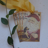 CHRISTMAS GIFT TAGS ( set of 4 ) 'Santa's Workshop'..ready to ship...
