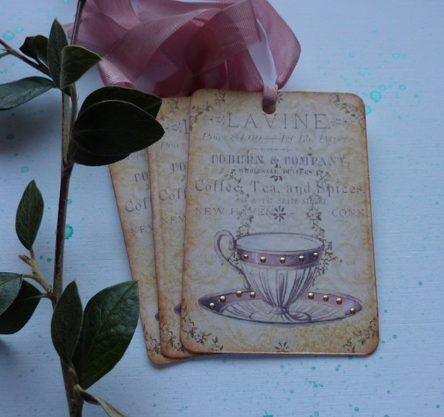 GIFT TAGS, vintage -style. 'Afternoon Tea'. (set of 3) ...ready to ship..