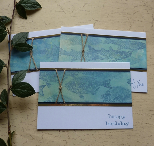GREETINGS CARDS  ( pack of 3  ) ' Shoal ' ..  ready to ship..