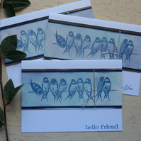 GREETINGS CARDS. (  pack of 3, with diff. sentiments ) 'Birds on a Wire 2'.