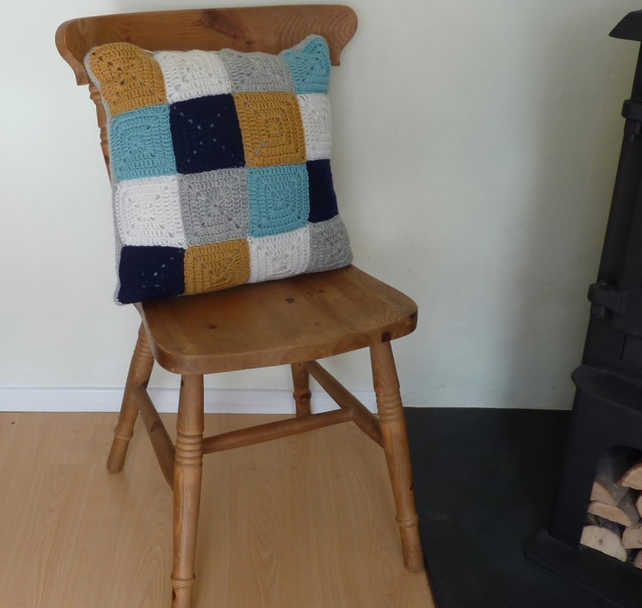 CUSHION  ( inc. insert). ' Harbourside'  .100% superwash  wool .Crochet.
