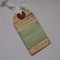 VINTAGE style  ribbon  . 4yds. ( silky seam binding) ' Peppermint Tea' . Green.