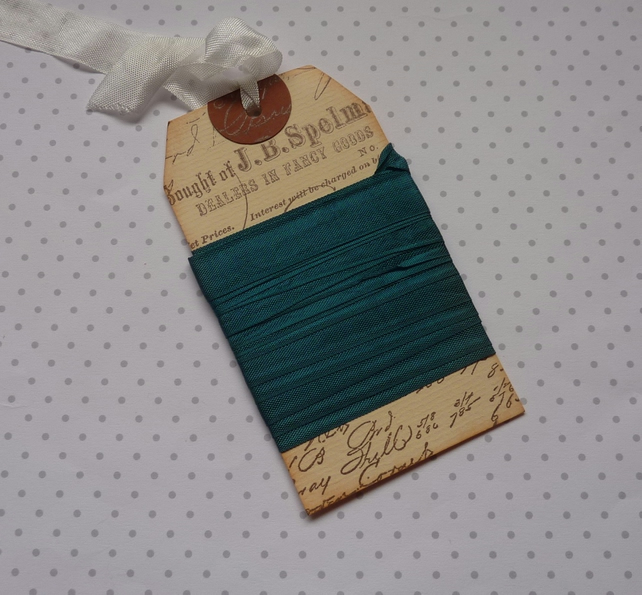 VINTAGE -STYLE ribbon . 4 yds. ( silky, seam binding ). 'Peacock'
