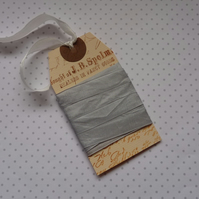 VINTAGE -STYLE ribbon . 4 yds. ( silky, seam binding ). ' Silver Grey'.