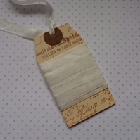 VINTAGE -STYLE ribbon . 4 yds. ( silky, seam binding ). ' Ivory'.