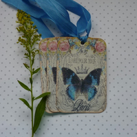 GIFT  TAGS , vintage style.  ( set of 3 ) ' Papillon'... ready to ship..
