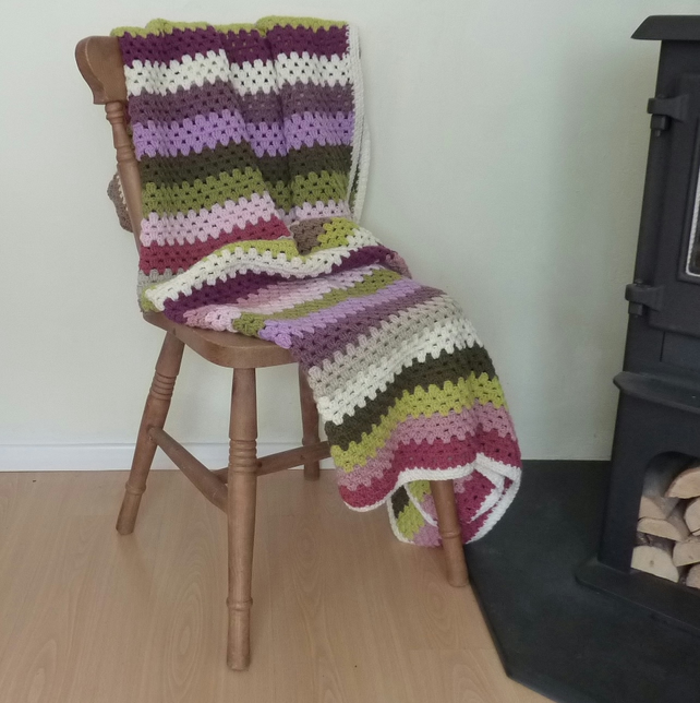 BLANKET , throw ( large). ' Secret Garden  '.Stripes .Crochet ...ready to ship..