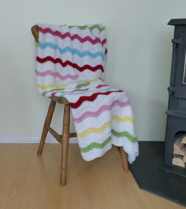 BLANKET, THROW. Ripples. Crocheted .' Village Fete'...ready to ship .....