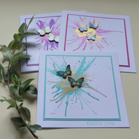 GREETINGS cards  ' Flight' ( pack of 3 diff. sentiments )..ready to ship..