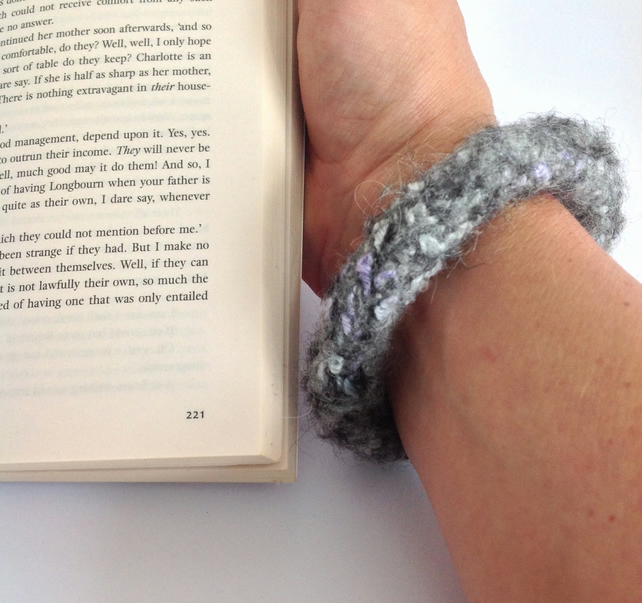 FELTED (wool ,alpaca blend) bracelet , bangle . Grey... ready to ship...