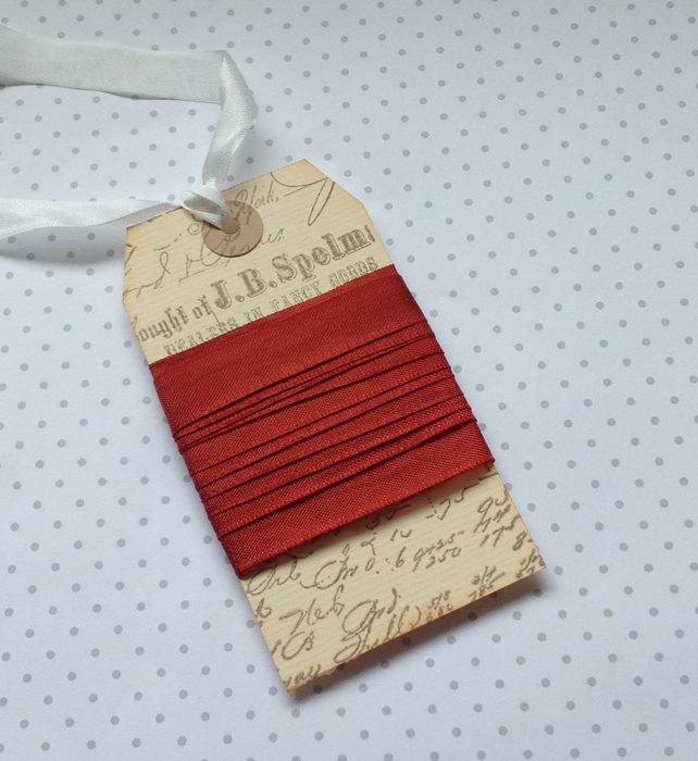 VINTAGE -STYLE ribbon . 4 yds. ( silky, seam binding ).'Rust'
