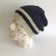 MENS Slouch Hat .Alpaca and wool blend. Crocheted . ' Sailing'. Ready to ship..