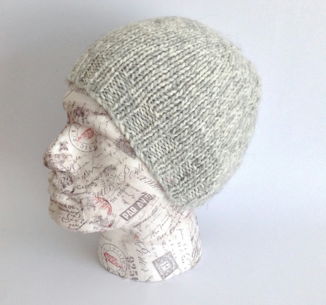 MENS ( unisex)  regular beanie hat . Alpaca ,merino wool  blend. ' Frost '.