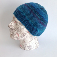 UNISEX regular beanie hat .Wool  blend. Knitted.' Deep Ocean'.