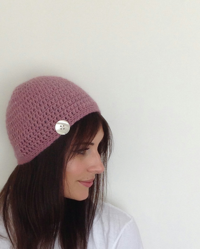 BEANIE HAT. Alpaca blend. 'Sweetheart' ( with vintage button ).ready to ship ...
