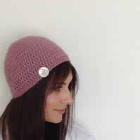 SALE .....BEANIE HAT. Alpaca blend. 'Sweetheart' ( with vintage button ).