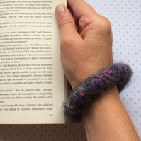 FELTED (wool ,alpaca blend) bracelet , bangle, charcoal ... ready to ship...