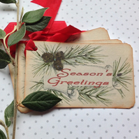 CHRISTMAS GIFT  TAGS  ( set of 3 ) ' Greenery '... ready to ship..