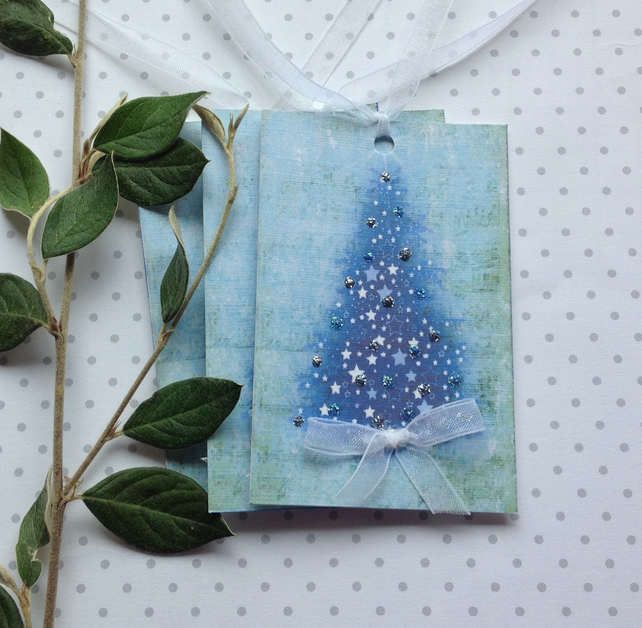 GIFT TAGS ( set of 3) .Christmas.Winter. ' Blue Christmas'...