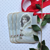 Christmas gift tags ( set of 3) ' Victorian Miss'..ready to ship...
