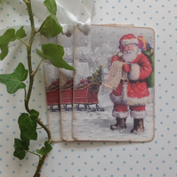 CHRISTMAS GIFT TAGS ( pack of 3 ) 'Checking His List ' . Santa, St Nick