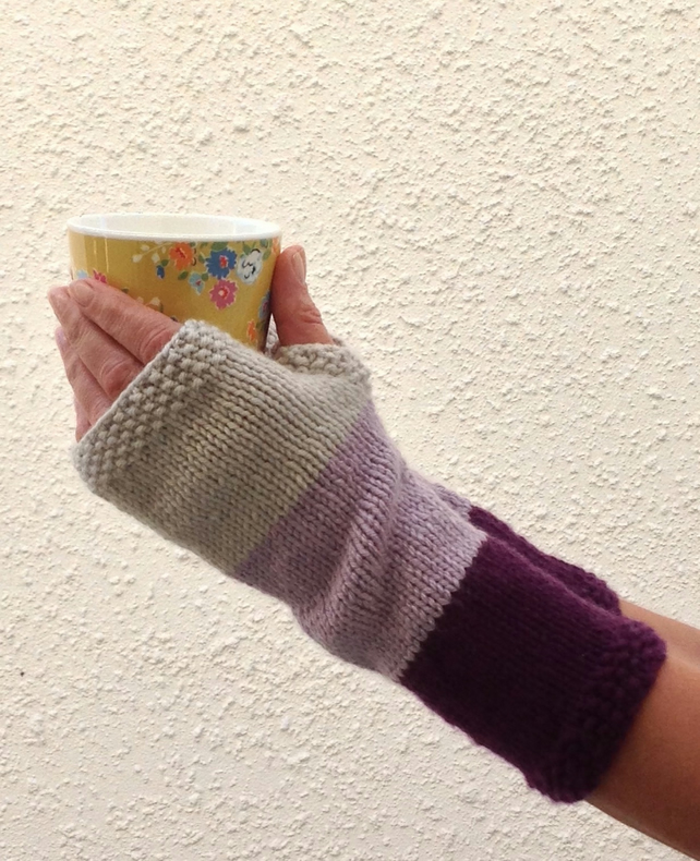 LUXURY CASHMERE blend fingerless mitts. Ladies M-L..' Francoise'