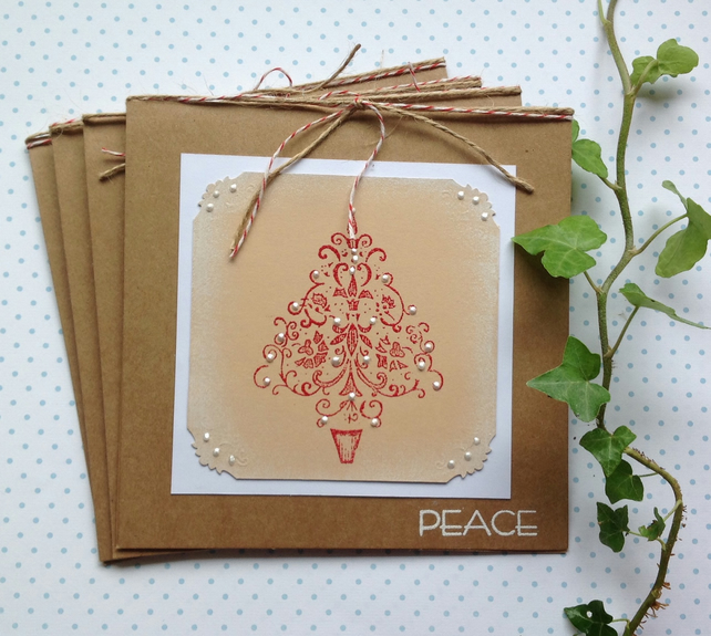 CHRISTMAS CARDS. Scandi-style. ' Peace' ( pack of 4) .Elegant tree.