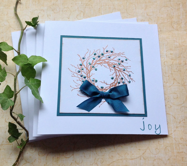 CHRISTMAS CARDS, pack of 4 , ' Joy ' ( copper and teal ).. ready to ship ...