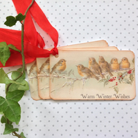 CHRISTMAS GIFT TAGS ( set of 3) ' Robins '. Vintage-style..ready to ship..