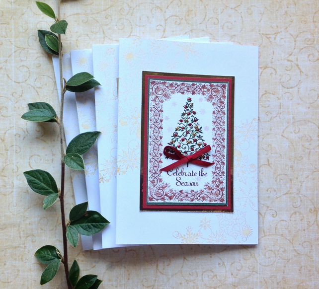CHRISTMAS CARDS  ' Celebrate the Season' ( pack of 4)   ...ready to ship...