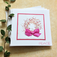 CHRISTMAS CARDS 'Peace' ( pack of 4 )  copper and pink....ready to ship...