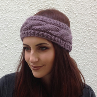 ALPACA blend earwarmers. Headband ' Wild Plum '. Super soft..ready to ship..