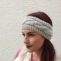ALPACA blend earwarmers. Headband ' Valley Mist'. Super soft...ready to ship..