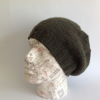 MEN'S SLOUCH HAT . .Alpaca, wool blend . Super-soft. 'Evergreen' ..ready to ship