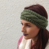 ALPACA blend earwarmers. Headband ' Moss'. Super soft...ready to ship..