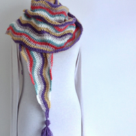 SCARF .Fine wool blend  . 'Regatta ' .Unique .Crochet .Ready to ship..